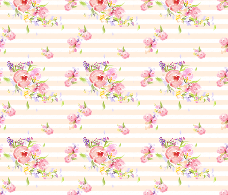 Striped Watercolor Flowers fabric by jjdesignwithlove on Spoonflower - custom fabric