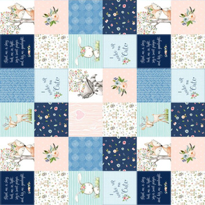 "3"" BLOCKS- Woodland Friends Nursery Patchwork Quilt (rotated)- I Woke Up This Cute Wholecloth Deer Fox Raccoon Bunny (Navy Pink) GingerLous"