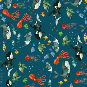 Ocean Pals - Large Scale on Dark Teal Rotated