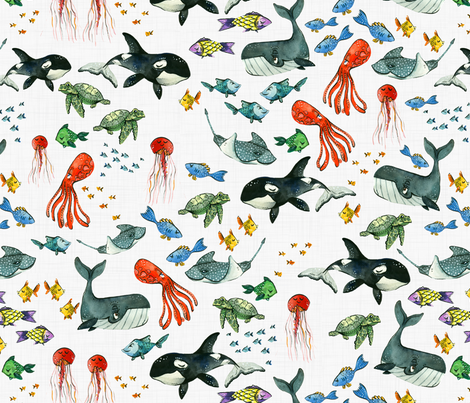 Ocean Pals - Large Scale on Light Linen fabric by taraput on Spoonflower - custom fabric