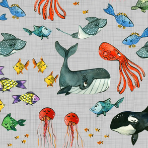 Ocean Pals - Large Scale on Grey Linen