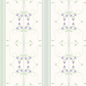 Wallflower Arabesque: Violet Purple Floral Stripe