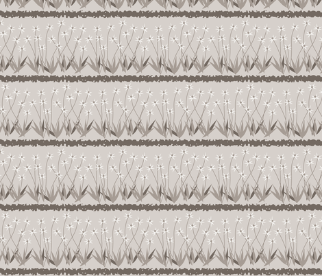 Dances With Breeze: Warm Gray Floral Stripe fabric by dept_6 on Spoonflower - custom fabric