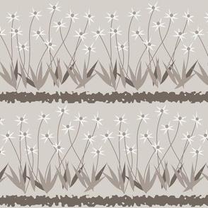 Dances With Breeze: Warm Gray Floral Stripe