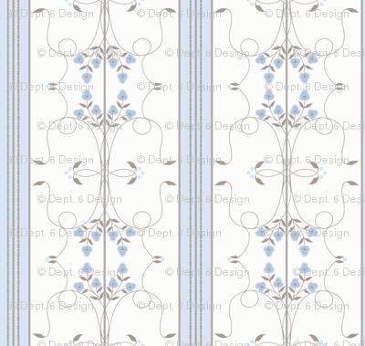 Wallflower Arabesque: Chambray Blue & Gray Brown Floral Stripe