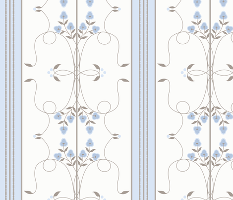 Wallflower Arabesque: Chambray Blue & Gray Brown Floral Stripe fabric by dept_6 on Spoonflower - custom fabric