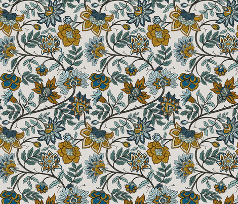 Indienne - Navy and Mustard  fabric by colourcult on Spoonflower - custom fabric
