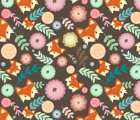 Autumn Fox Floral fabric by heatherhightdesign on Spoonflower - custom fabric
