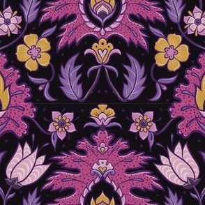 Boho Floral Tile - Pink and Mustard