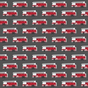 (extra small scale) fire trucks - dark red