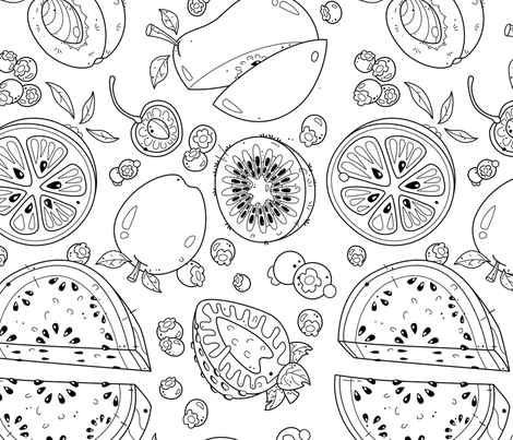 Food Frenzy Lake Coloring Book Challenge - GDesigner fabric by gdesigner on Spoonflower - custom fabric