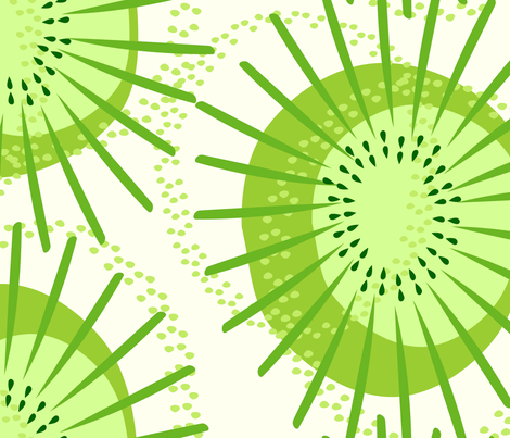 Kiwi Fruit Abstract fabric by studioxtine on Spoonflower - custom fabric