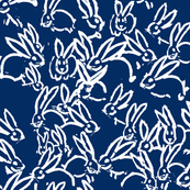 white bunnies on navy