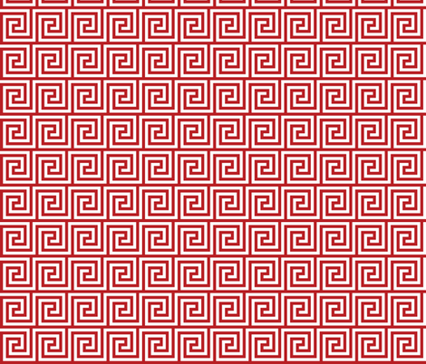 Geometric Pattern: Key Spiral: Red fabric by red_wolf on Spoonflower - custom fabric