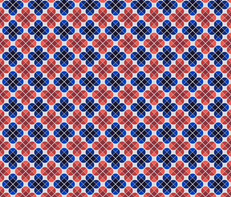 Geometric Pattern: Flower: Four Petal: Blue/Red fabric by red_wolf on Spoonflower - custom fabric