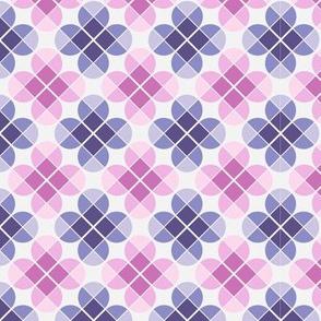 Geometric Pattern: Flower: Four Petal: Pink/Purple