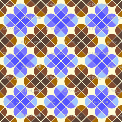 Geometric Pattern: Flower: Four Petal: Blue/Brown