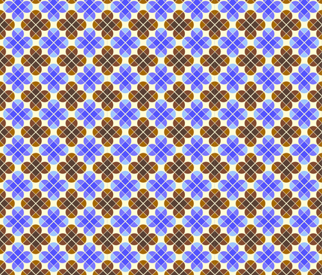 Geometric Pattern: Flower: Four Petal: Blue/Brown fabric by red_wolf on Spoonflower - custom fabric