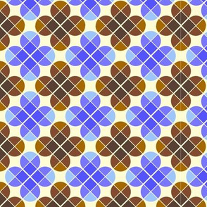 Geometric Pattern: Flower: Four Petal: Blue/Brown