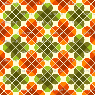 Geometric Pattern: Flower: Four Petal: Green/Orange