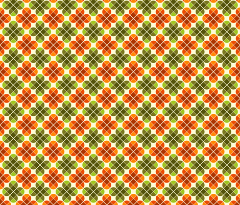 Geometric Pattern: Flower: Four Petal: Green/Orange fabric by red_wolf on Spoonflower - custom fabric