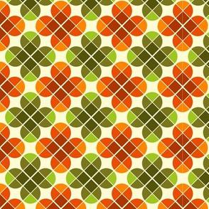 Geometric Pattern: Flower: Four Petal: Green/Orange