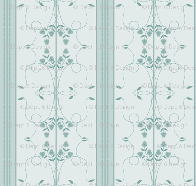 Wallflower Arabesque: Watery Blue Floral Stripe