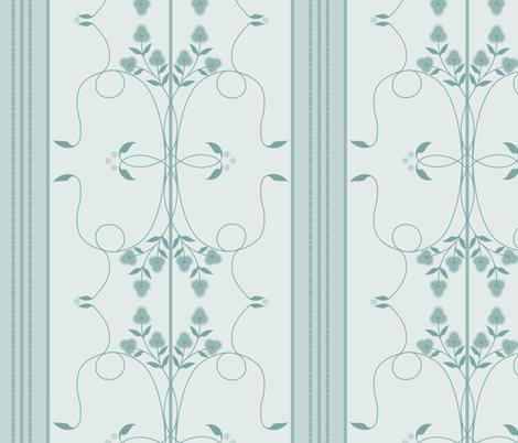 Wallflower Arabesque: Watery Blue Floral Stripe fabric by dept_6 on Spoonflower - custom fabric