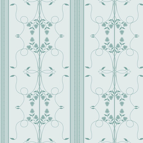 Wallflower Arabesque: Watery Blue Floral Stripe