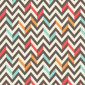 Retro Style Brown Chevrons with Colorful Accents on Off-White Background