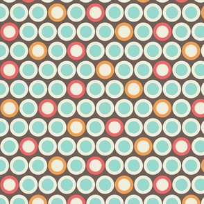 Retro Style Cream Polka Dots on Brown Background with Colorful Accents