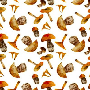 Watercolor mushrooms pattern
