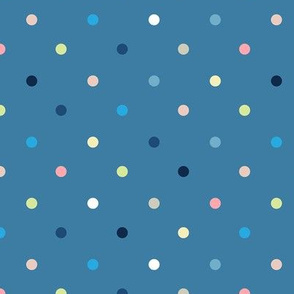 Colorful Polka Dots / Blue