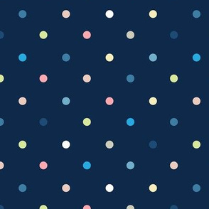 Colorful Polka Dots / Midnight Blue