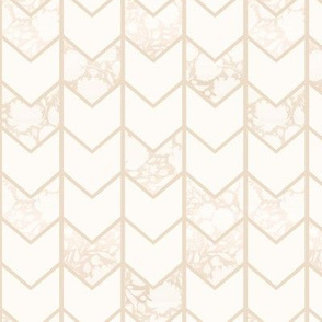 Cream Floral Chevron Pattern