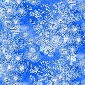 Sea garden half-drop in blue