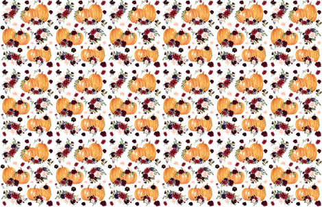"4"" Pumpkin Spice Floral fabric by hellobohobabe on Spoonflower - custom fabric"