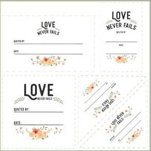 Love Never Fails Quilt Labels