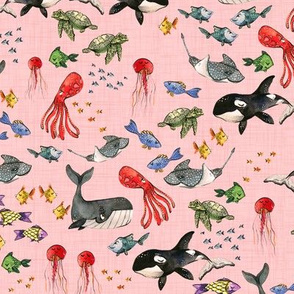 Ocean Pals - Smaller Scale on Pink Linen