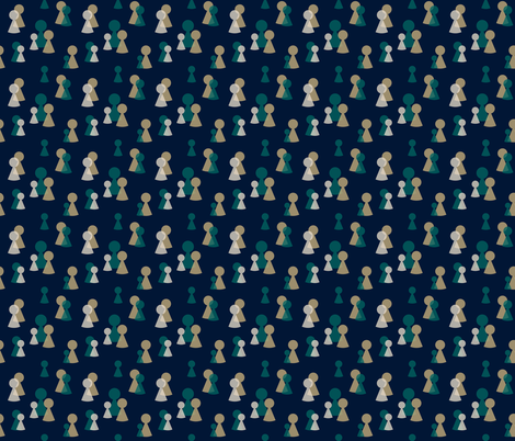 Figurative - Game Pieces - Black fabric by wiren_creative on Spoonflower - custom fabric