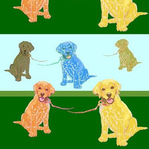 Lab Puppies - Green & Blue stripe