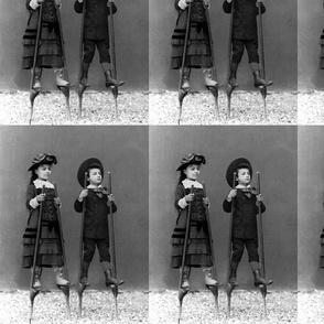 victorian children on stilts