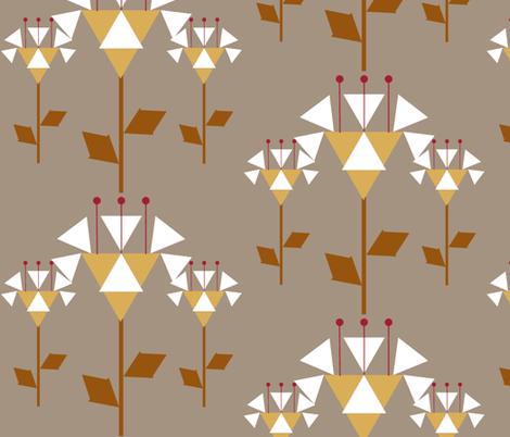 "Fantasy Trillium-taupe-10"" fabric by kae50 on Spoonflower - custom fabric"
