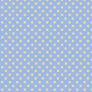 Lilac Blue and yellow polkadots