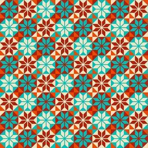 Geometric Pattern: Eight Petal Flower: Turquoise
