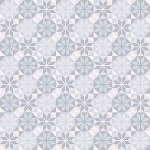 Geometric Pattern: Eight Petal Flower: Grey