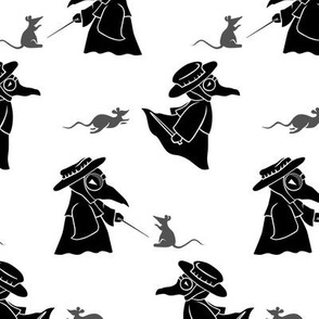 Chibi Plague Doctors Black on White