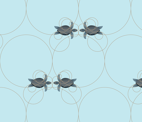 sea turtles circles2 (large) fabric by smachable on Spoonflower - custom fabric