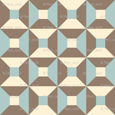 Geometric Pattern: Square Check: Brown