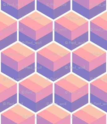 Geometric Pattern: Cube Stripe: Sunset